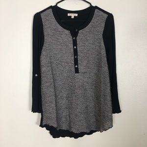 Hem & Thread Black and Grey Henley Long Sleeve